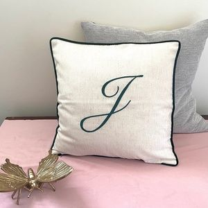 """🎁 NEW """"J"""" Monogram Accent Pillow Cover in Green"""